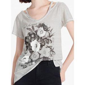 Lucky Brand gray striped Flower Tee shirt top 7642